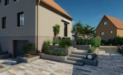 Außenbereich in Agora Corail Pflaster und Blockstufen Mailand - 3D Simulation